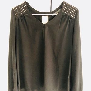 Black top with gold metal studs